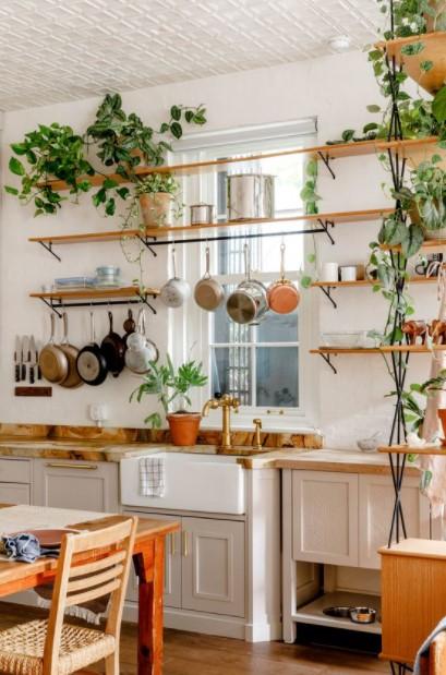 κουζίνα πολλά φυτά κρεμαστά