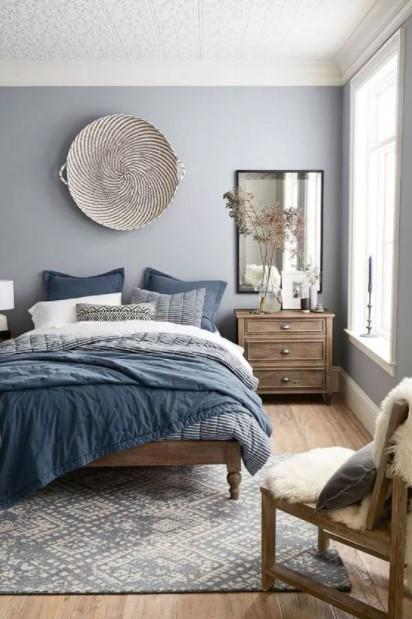 μπλε γκρι υπνοδωμάτιο