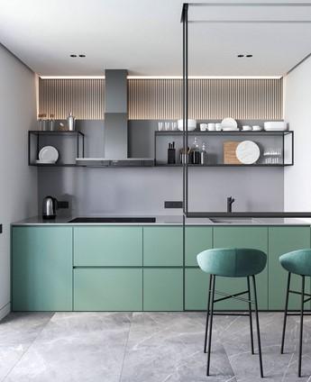 πρασινη μαυρη μπεζ κουζινα 2021