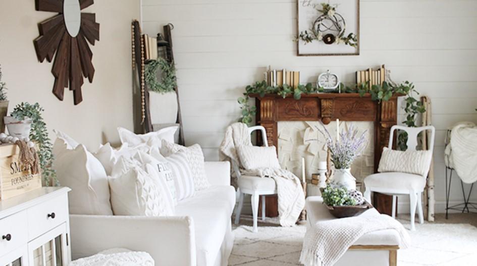 σαλόνι με ανοιξιάτικη διακόσμηση
