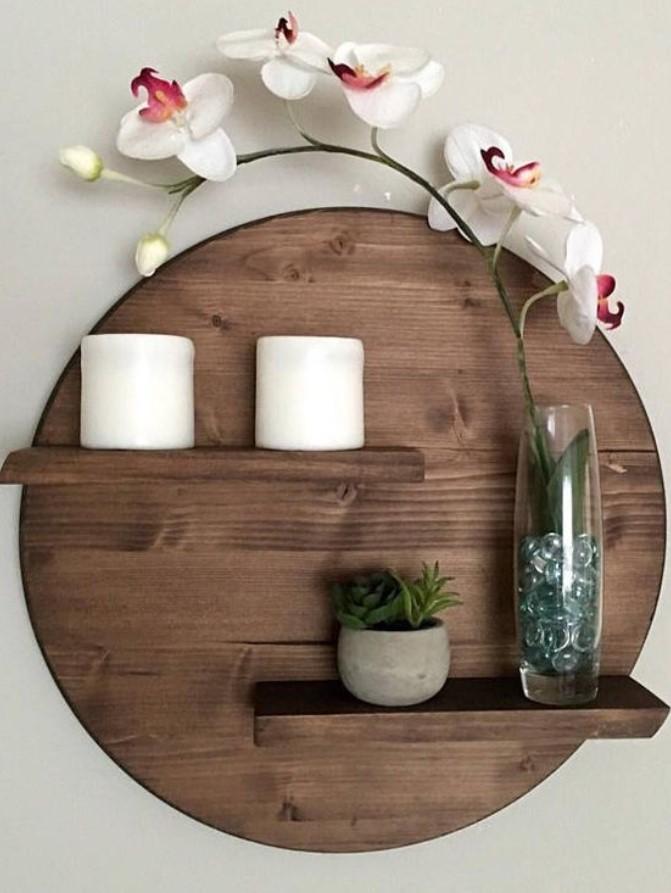 ξύλινη διακοσμητική ραφιέρα