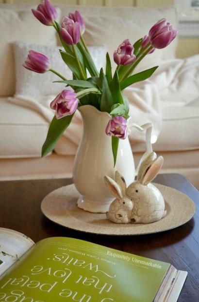 βάζο ροζ τουλίπες τραπέζι σαλονιού άνοιξη