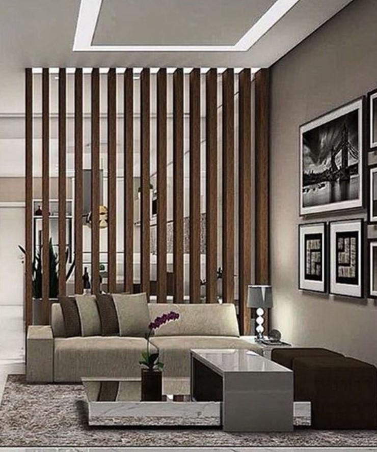 ξύλινο διαχωριστικό χώρου για κουζίνα σαλόνι