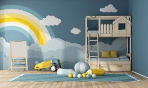 παιδικο με ζωγραφια στον τοιχο