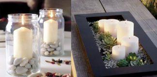 ιδέες διακόσμησης με βότσαλα και κεριά