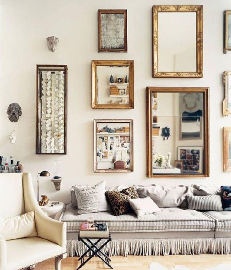 διακόσμηση τοίχου με καθρέφτες