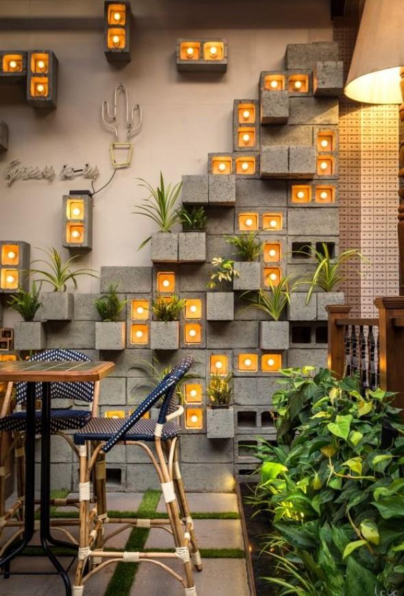 διακόσμηση τοίχου με τσιμεντόλιθους