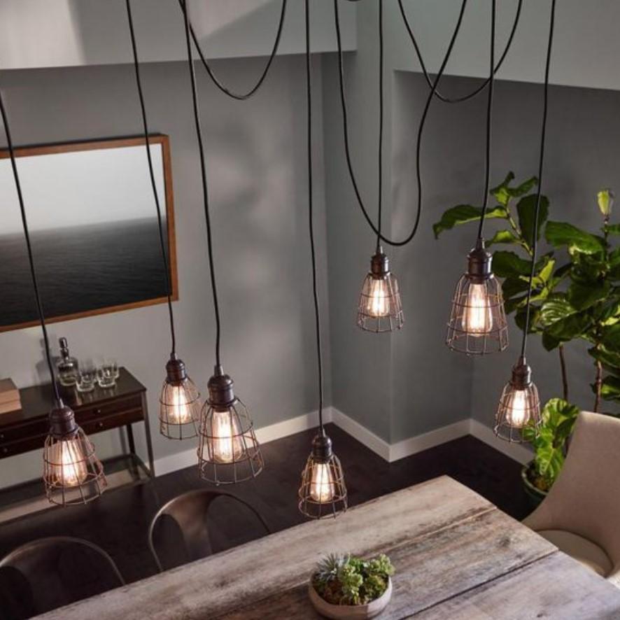 φωτιστικό οροφής με καλώδια και λάμπες