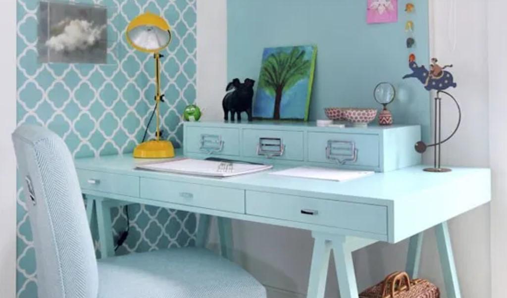 γραφείο παστέλ χρώματα διακόσμηση σπιτιού