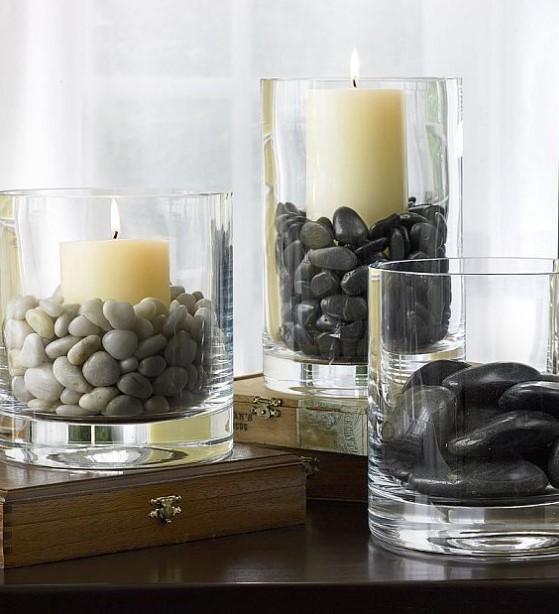 κεριά γυ΄άλινο δοχείο βότσαλα διακοσμήσεις βάζα