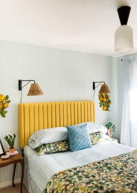 κρεβάτι κίτρινο κεφαλάρι υπνοδωμάτια χρώμα