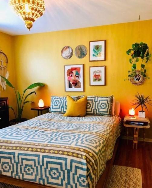 κρεβατοκάμαρα κίτρινος τοίχος υπνοδωμάτια χρώμα