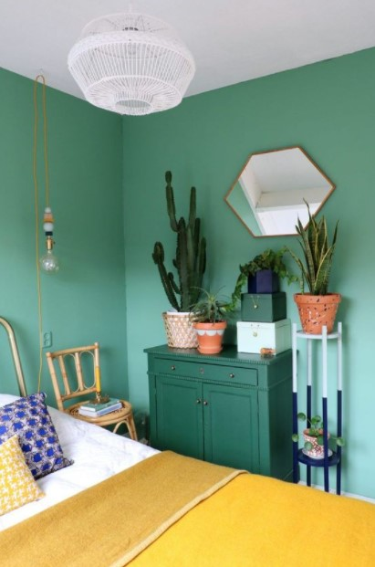 κρεβατοκάμαρα πράσινη συρταριέρα υπνοδωμάτια χρώμα