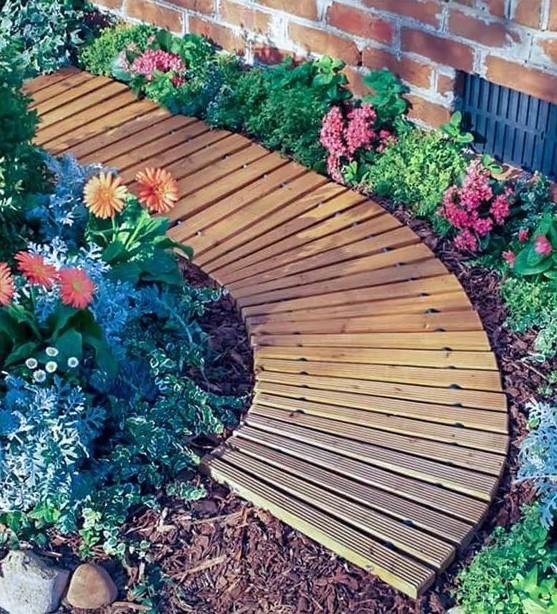 ξύλινος διάδρομος λουλούδια διάδρομοι κήπο