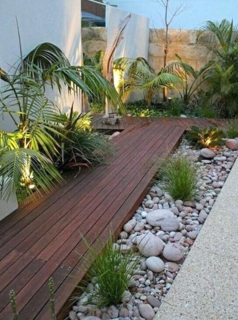 ξύλινος διάδρομος πέτρες φυτά διάδρομοι κήπο