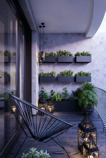 μαύρα κασπό φυτά τοίχος βεράντας