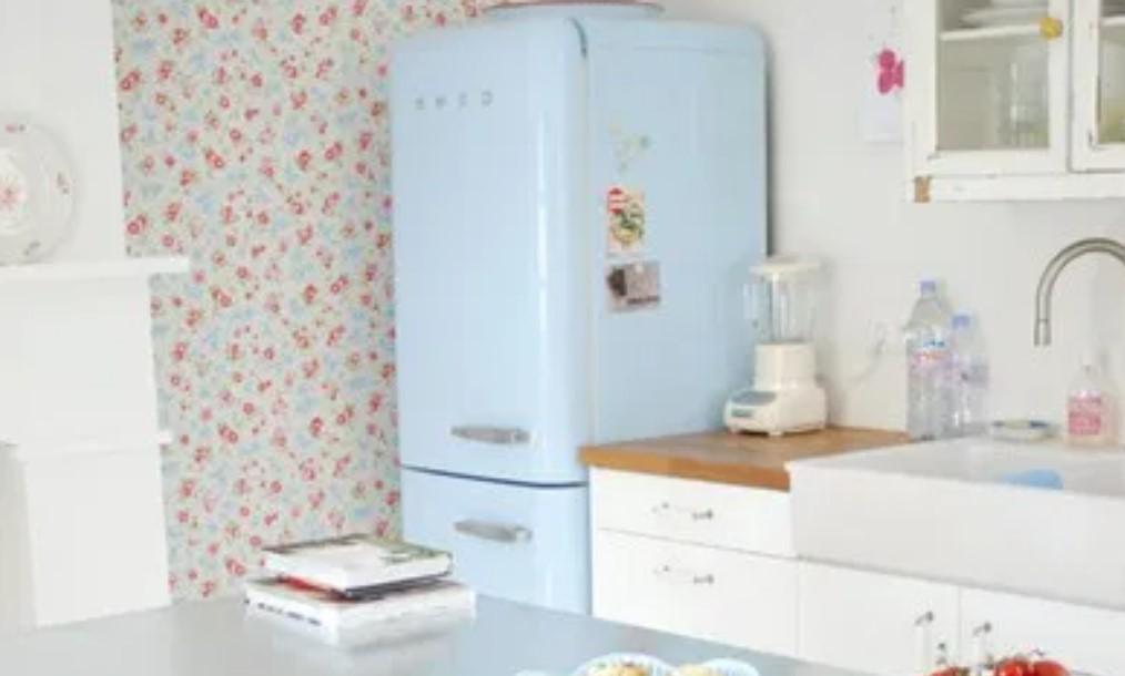 ψυγείο γαλάζιο παστέλ χρώμα διακόσμηση σπιτιού