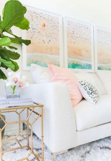 τριάδα πίνακες καναπέ διακοσμήσεις κάδρα