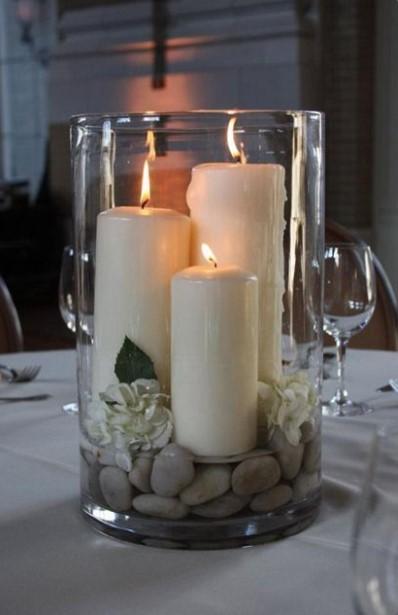 τρία κεριά βότσαλα διακοσμήσεις βάζα