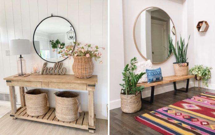 ιδέες για διακόσμηση εισόδου με καθρέφτες