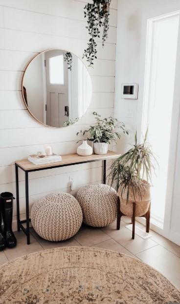 καθρέπτης τραπέζι φυτά είσοδος