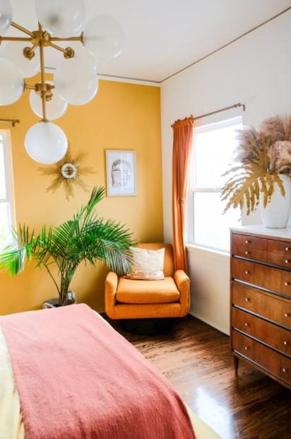 κίτρινος τοίχος υπνοδωμάτιο