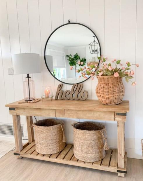 κονσόλα λουλούδια καλάθια είσοδο διακοσμητικά είσοδο
