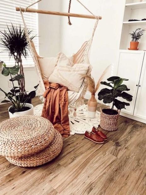 κρεμαστή κούνια φυτά καλοκαιρινή διακόσμηση υπνοδωμάτιο