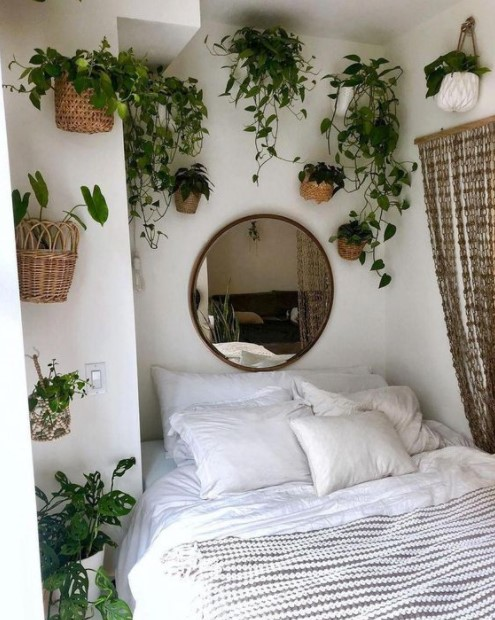κρεβατοκάμαρα φυτά τοίχο καλοκαιρινή διακόσμηση υπνοδωμάτιο