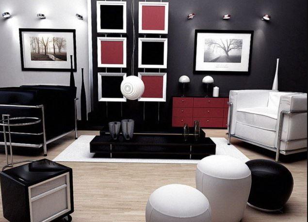 σαλόνι μαύρο λευκό κόκκινο