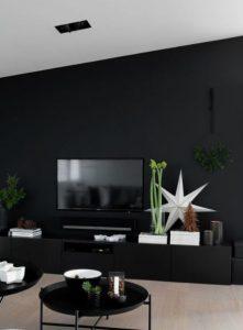 μαύρος τοίχος σαλονιού