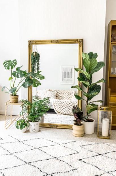 μεγάλος καθρέπτης φυτά διακοσμήσεις φυσικά υλικά
