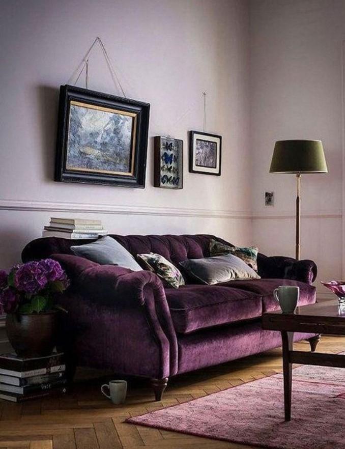 μοβ καναπές