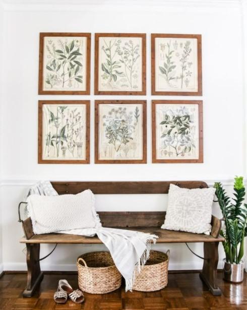 πίνακες με φυτά παγκάκι