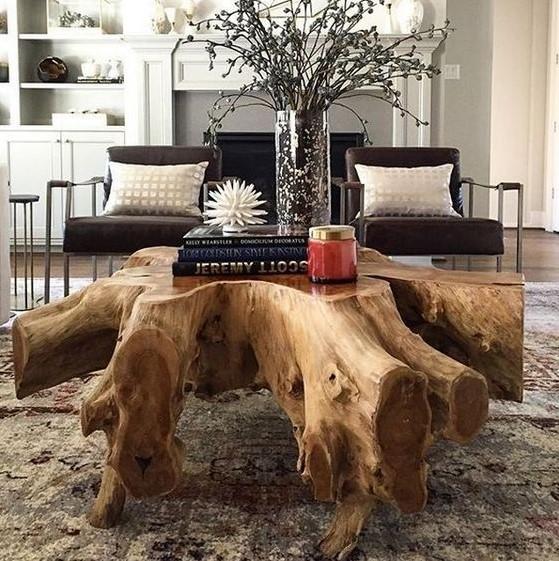 τραπέζι σαλονιού κορμός δέντρου διακοσμήσεις φυσικά υλικά