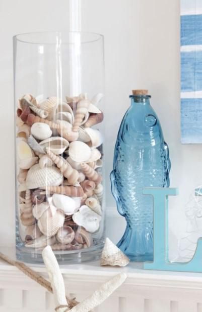 βάζο κοχύλια διακοσμήσεις φυσικά υλικά