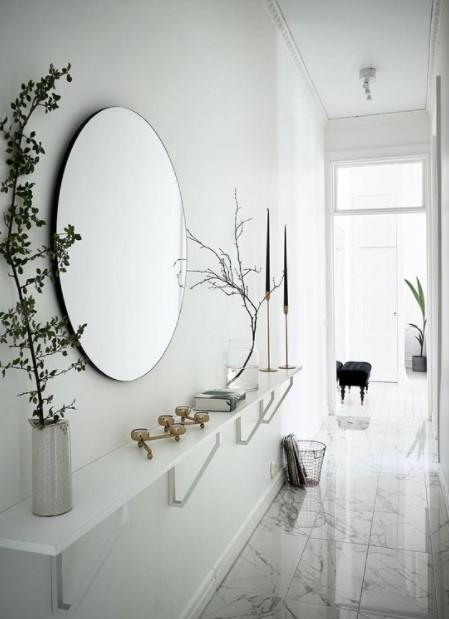 χολ ράφι καθρέπτης διακοσμήσεις διάδρομο