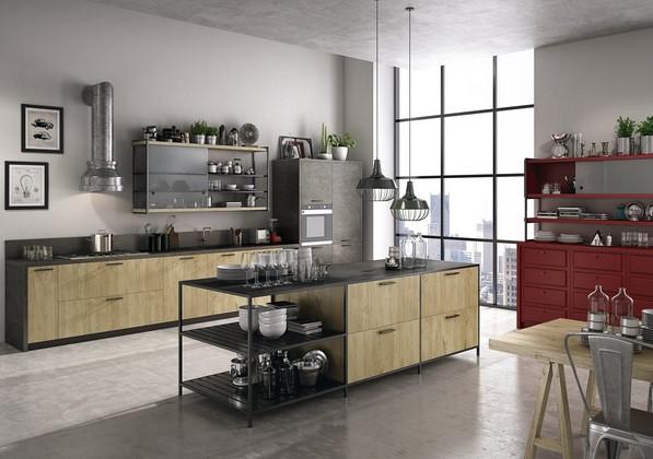 industrial κουζίνα καφέ μαύρη