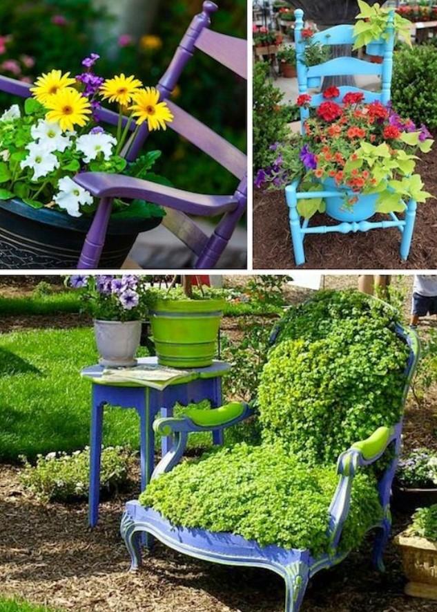 καρέκλες με φυτά
