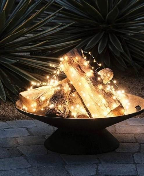 ξύλα λαμπάκια φωτισμό εξωτερικό χώρο