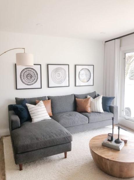 μίνιμαλ σαλόνι γωνιακός καναπές