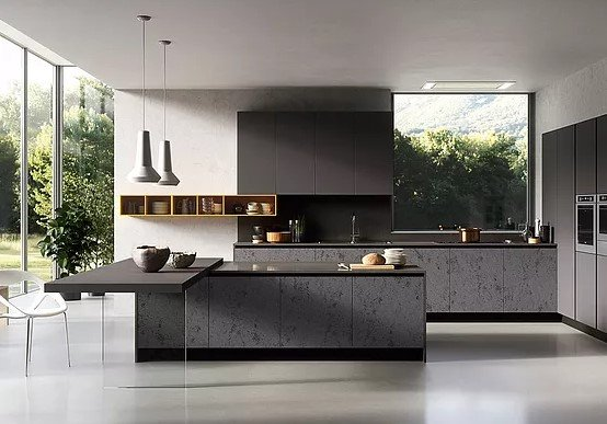 κουζίνα μοντέρνα γκρι σκούρο