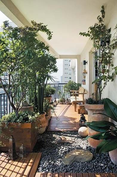 μπαλκόνι φυτά πέτρες πάτωμα
