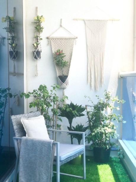 μπαλκόνι μακραμέ κομμάτια διακοσμητικά τοίχου βεράντα