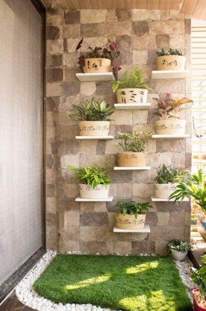 ράφια γλαστράκια μπαλκόνι διακοσμητικά τοίχου