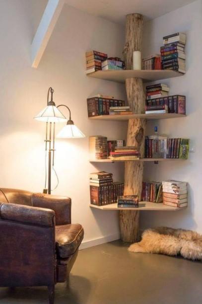 βιβλιοθήκη κορμός γωνίες σπιτιού