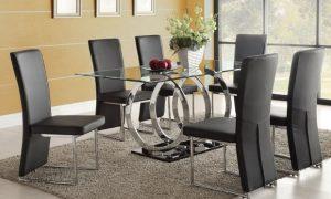 τραπέζι τραπεζαρίας γυάλινη επιφάνεια
