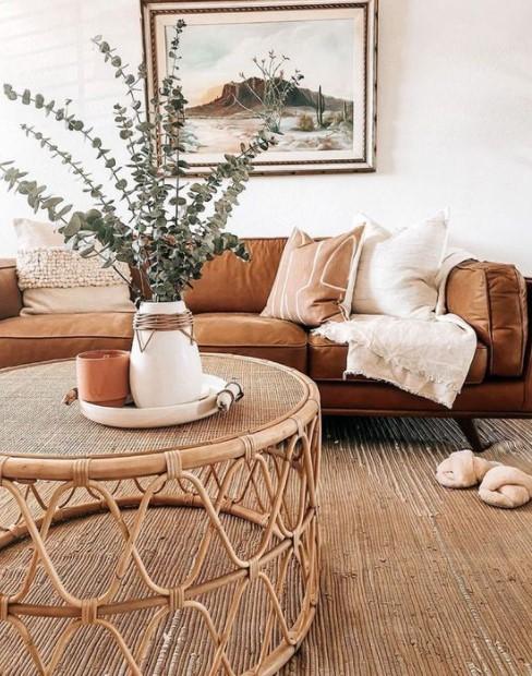 σαλόνι καφέ καναπές τραπέζι ρατάν