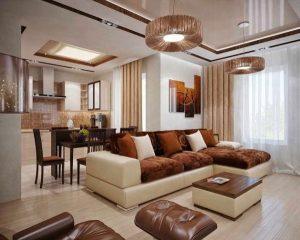 δερμάτινοι καναπέδες ξύλινο πάτωμα σαλονιού
