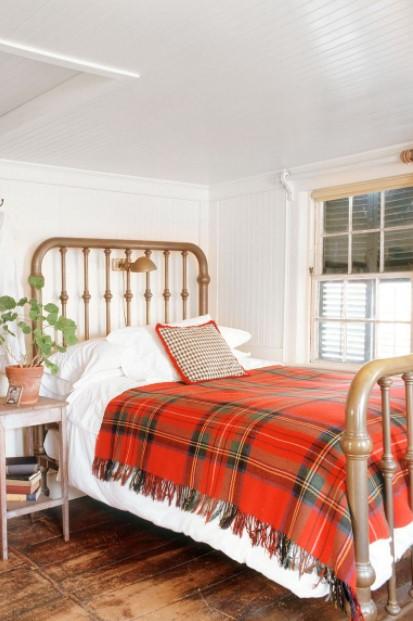 καρό κάλυμμα κρεβάτι φθινοπωρινές ιδέες διακόσμηση